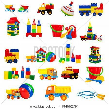 colorful toy for children isolated on white background set. toys - a truck a train blocks jump rope house whirligig ball construction blocks pyramid bucket shovel rake watering