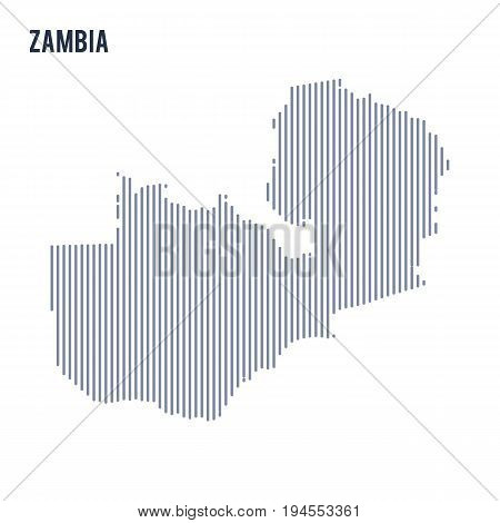 Vector Abstract Hatched Map Of Zambia With Vertical Lines Isolated On A White Background.