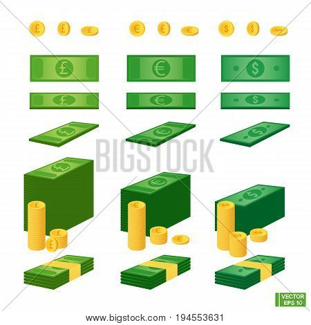 Set Of Money. Different Currencies