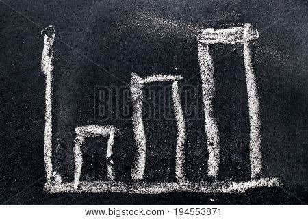 White chalk draw as upward bar graph on black board background (Concept for sale profit cost of company in uptrend)