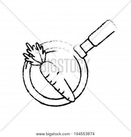 figure carrot vegetable inside skillet pan vector illustration