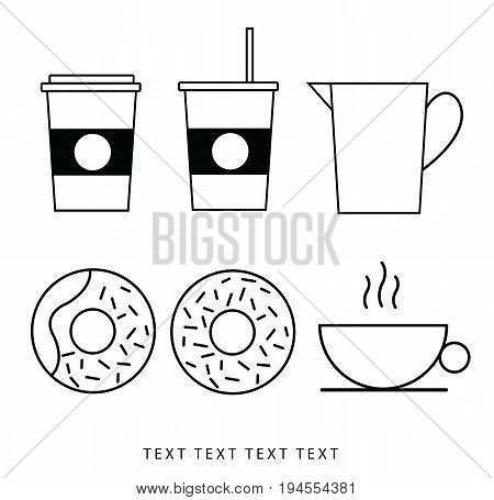Vector icon set, coffee mug and donut dumplings.