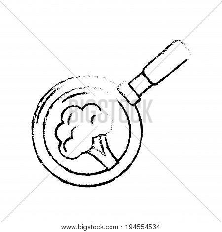 figure broccoli vegetable inside skillet pan vector illustration