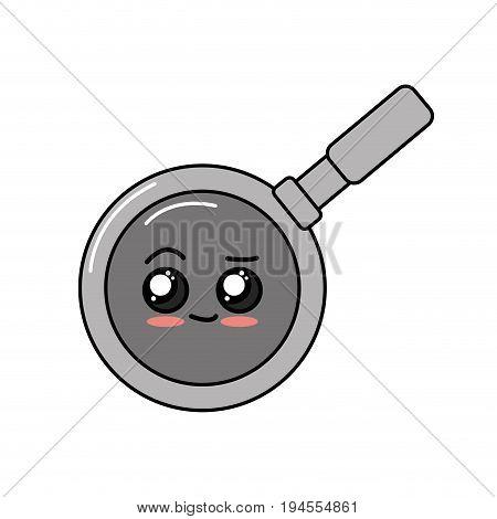 kawaii cute tender skillet pan vector illustration