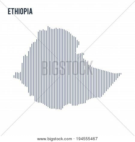 Vector Abstract Hatched Map Of Ethiopia With Vertical Lines Isolated On A White Background.