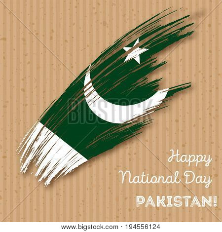 Pakistan Independence Day Patriotic Design. Expressive Brush Stroke In National Flag Colors On Kraft