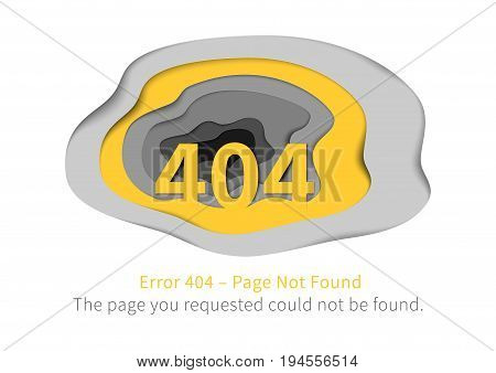 Error 404 page with paper art vector illustration. Broken web page graphic design. Error 404 page not found paper style with shadows creative template.