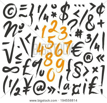 Fashionable modern vector font on white background. Numbers punctuation symbols. Lettering typography calligraphy. Elements for design.