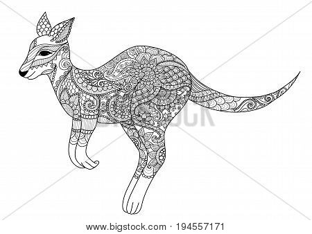 Zendoodle design of jumping kangaroo for design element and adult or kid coloring book page. Vector illustration