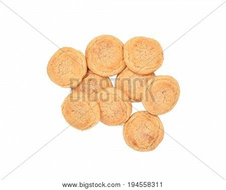 Snickerdoodle cookies topped with cinnamon sprinkles on white