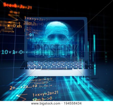 Blue Digital Cyber Hacker On Laptop Screen 3D Illustration