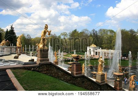 Peterhof, St. Petersburg - May 15, 2010: Grand cascade, The Grand Peterhof Palace in Peterhof, St. Petersburg