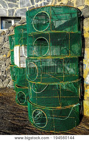 Empty Green Net Fish Traps