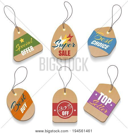 Vector cardboard sale labels or vintage price tags. Paper retro sale badges isolated on white background