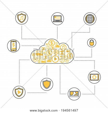Online data backup linear style infographics. Network cloud service, global data safety and interactive processing, financial system protection, cloud computing conceptual vector illustration