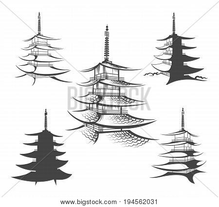 Asian hand drawn pagoda vector illustration. Japanese traditional home or chinese buddhist house architecture isolated on white background