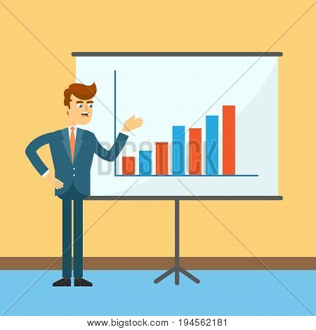 Businessman standing near board with financial chart. Young man in business suit and tie doing business presentation. Business people banner, finance statistics and analytics vector illustration
