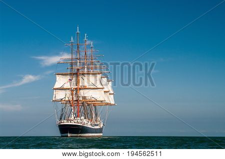 Clear sky, sunny afternoon , Four-masted barque rear view