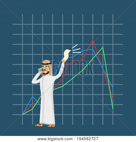 Arabian businessman speaking on phone. Young man in traditional clothing on background of collapse graph. Business crisis concept, negative financial chart, information analysis vector illustration