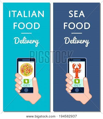 Italian pizza and seafood delivery flyers. Smartphone screen with restaurant menu, online order food on mobile app vector illustration. Express delivery service poster with phone in human hand.