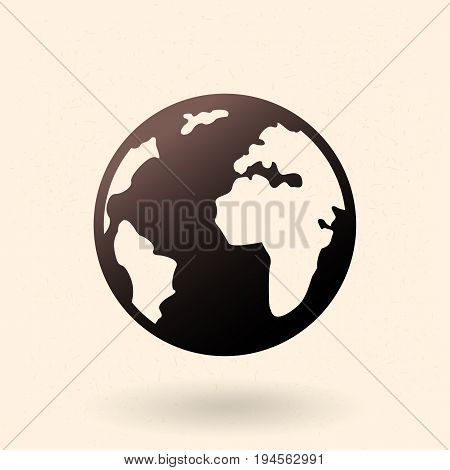 Vector Single Black Basic Icon - Silhouette of Globe