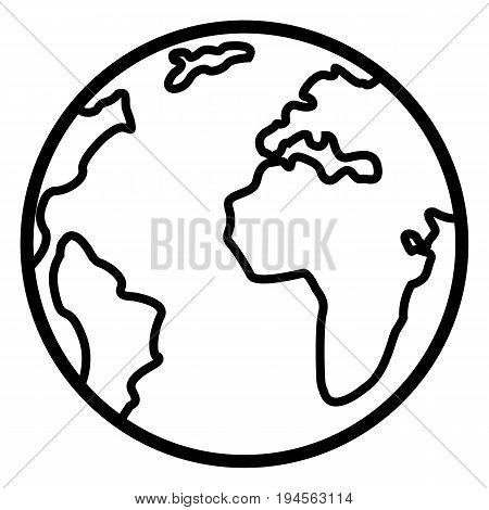 Vector Single Basic Outline Icon - Globe. Planet Earth.