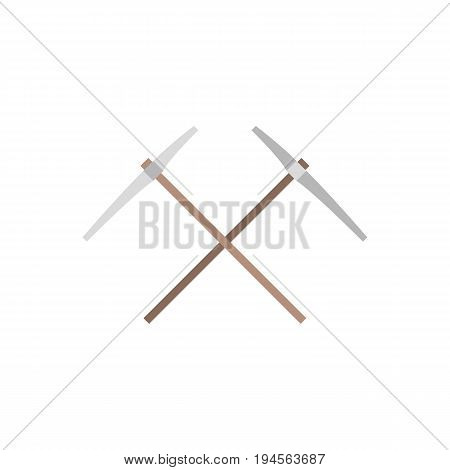 pickaxe icon,cross pickaxe symbol, flat design vector