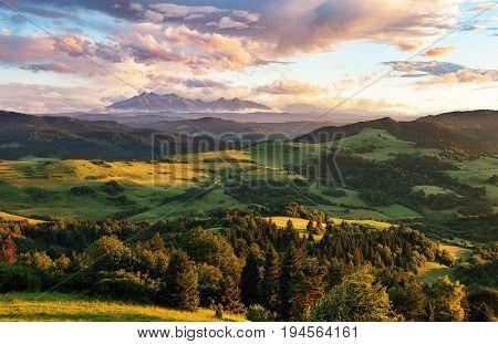 Beautiful summer landscape in mountains - Pieniny / Tatras Slovakia