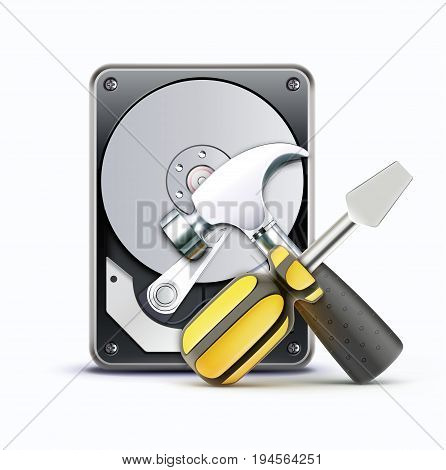 Vector illustration of computer repairing service concept with hard drive disc screwdriver and hammer