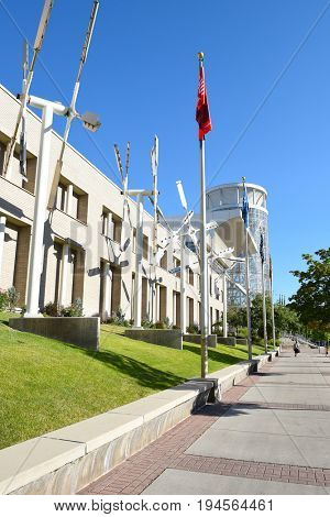 SALT LAKE CITY, UTAH - JUNE 29, 2017: The Calvin L. Rampton Salt Palace Convention Center. Named after Utahs 11th governor, it is commonly call the Salt Palace.