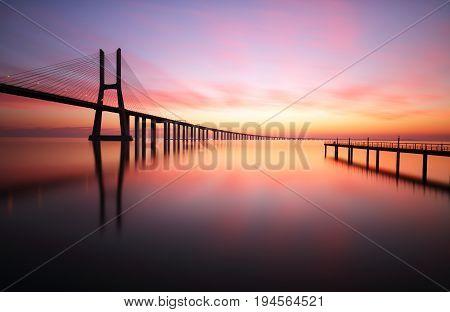 Portugal Lisbon - Vasco da Gama at sunset