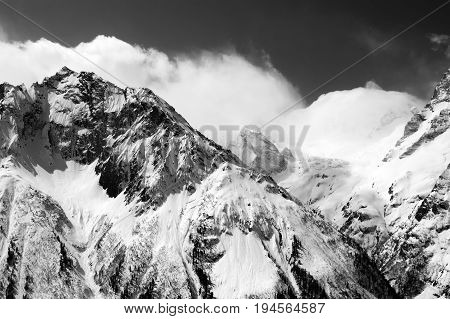 Black And White View Of Winter Snow Mountains In Cloud