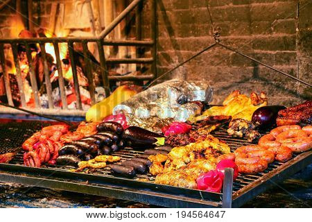 Display of meats in Port Market Montevideo Uruguay. It is the most popular place for parillas barbeque in the city.