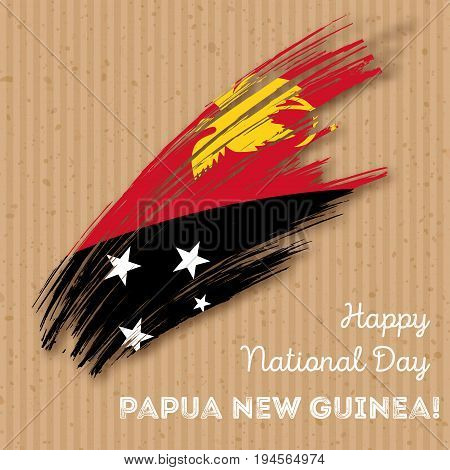 Papua New Guinea Independence Day Patriotic Design. Expressive Brush Stroke In National Flag Colors
