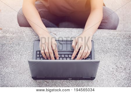 Student Using Computer Laptop Information Technology Lifestyle Concept