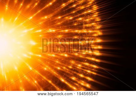 Nucleus of Atom Nuclear explode atomic bomb red hot ray radiation light science illustration concept.