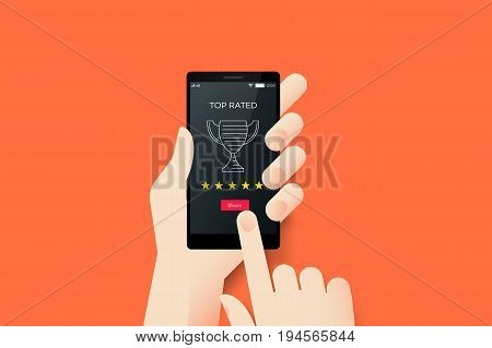 Hand Holding Smartphone With Conceptual Top Rated Mobile Application Interface. Material Design Vector Illustration.