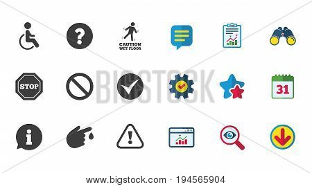 Attention caution icons. Question mark and information signs. Injury and disabled person symbols. Calendar, Report and Download signs. Stars, Service and Search icons. Statistics, Binoculars and Chat