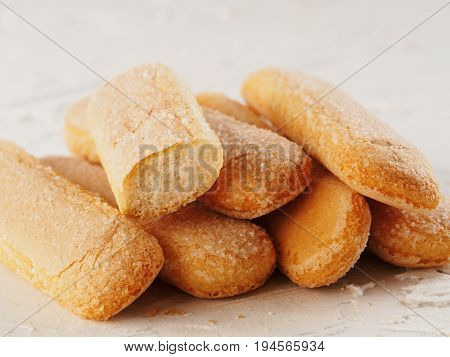 Ladyfinger Savoiardi Biscuit Cookies Close Up