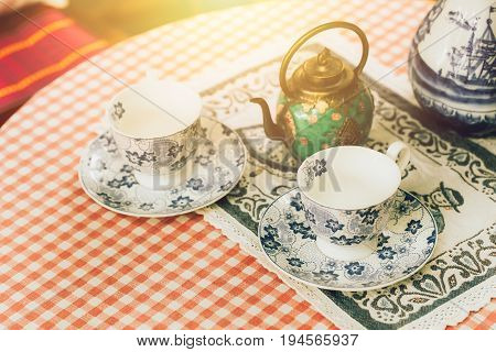 Tea Set Decoration, Chinese Tea Pot With Tea Cup On Table.