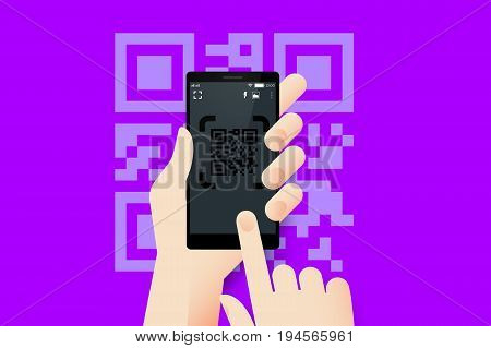 Hand Holding Smartphone With Conceptual QR Code Reader Mobile Application Interface. Material Design Vector Illustration.