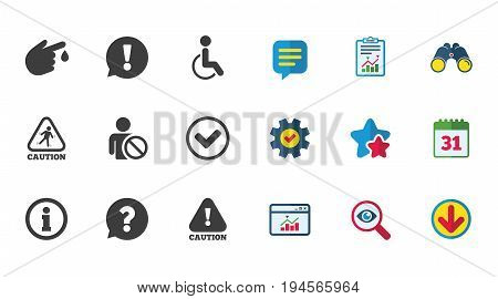Caution and attention icons. Question mark and information signs. Injury and disabled person symbols. Calendar, Report and Download signs. Stars, Service and Search icons. Vector