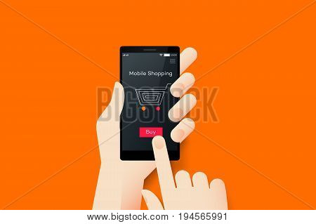 Hand Holding Smartphone With Conceptual Online Shopping Mobile Application Interface. Material Design Vector Illustration.