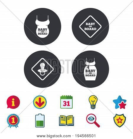 Baby on board icons. Infant caution signs. Child pacifier nipple. Pregnant woman dress with big belly. Calendar, Information and Download signs. Stars, Award and Book icons. Vector