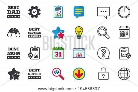 Best mom and dad, brother and sister icons. Award with exclamation symbols. Chat, Report and Calendar signs. Stars, Statistics and Download icons. Question, Clock and Globe. Vector