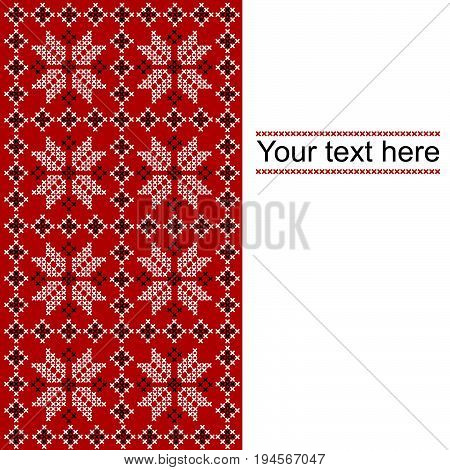 Card with ethnic ornament design in whitered and black colors