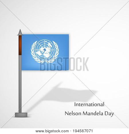 illustration of International Nelson Mandela Day text with Flag