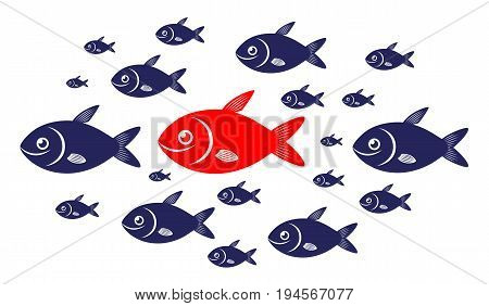 Target audience concept with red fish and blue fishes.