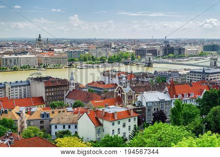 BUDAPEST HUNGARY - MAY 6: Budapest from Buda castle hill on May 6 2017 in Budapest