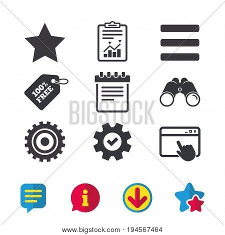 Star favorite and menu list icons. Notepad and cogwheel gear sign symbols. Browser window, Report and Service signs. Binoculars, Information and Download icons. Stars and Chat. Vector